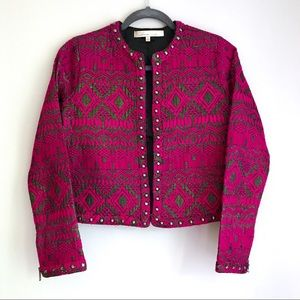 Lovers + Friends Hot Pink Cropped Jacquard Jacket
